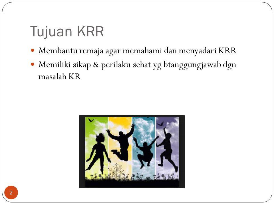 Tujuan KRR Membantu remaja agar memahami dan menyadari KRR Memiliki sikap & perilaku sehat yg btanggungjawab dgn masalah KR 2