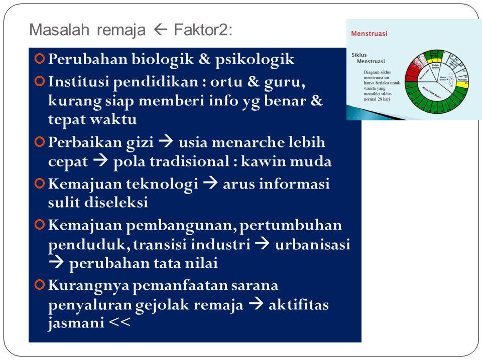 Masalah remaja  Faktor2: 30 Perubahan biologik & psikologik Institusi pendidikan : ortu & guru, kurang siap memberi info yg benar & tepat waktu Perba