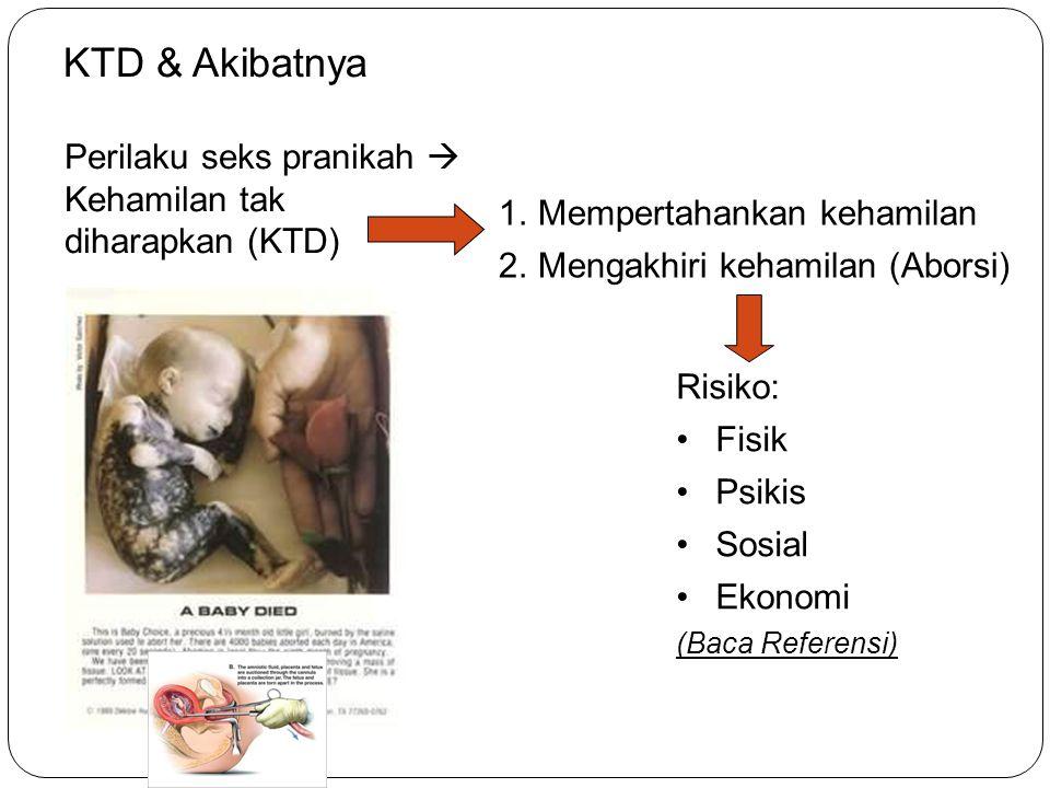 33 KTD & Akibatnya Perilaku seks pranikah  Kehamilan tak diharapkan (KTD) 1.Mempertahankan kehamilan 2.Mengakhiri kehamilan (Aborsi) Risiko: Fisik Ps