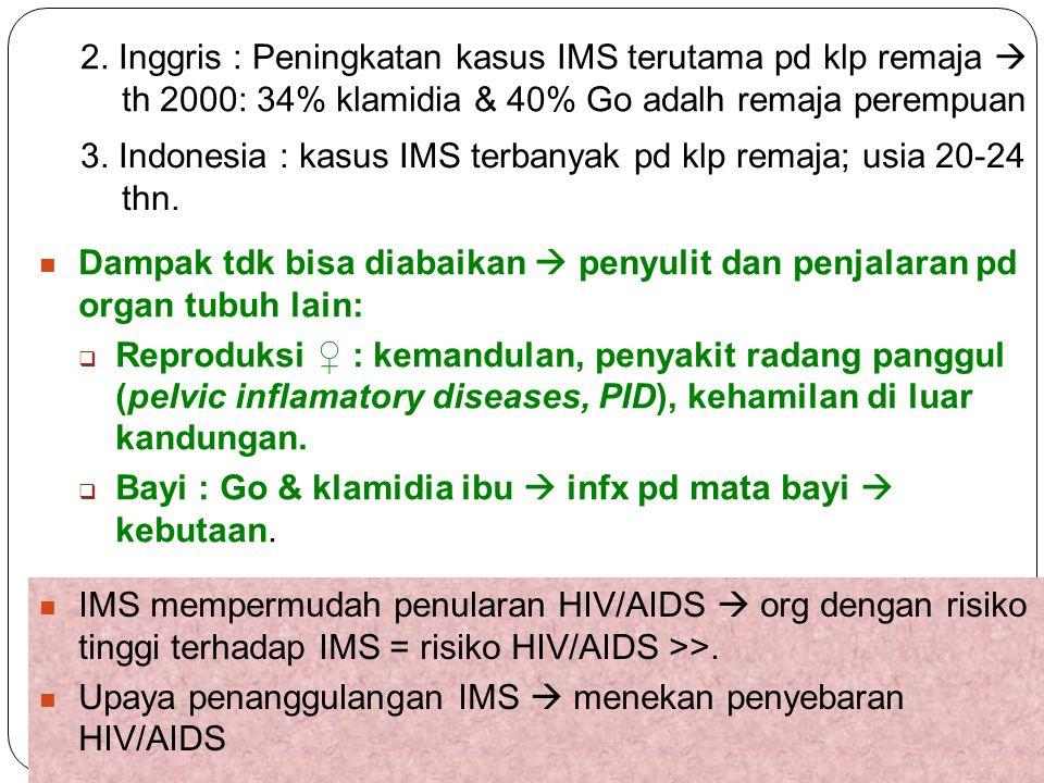 37 2. Inggris : Peningkatan kasus IMS terutama pd klp remaja  th 2000: 34% klamidia & 40% Go adalh remaja perempuan 3. Indonesia : kasus IMS terbanya