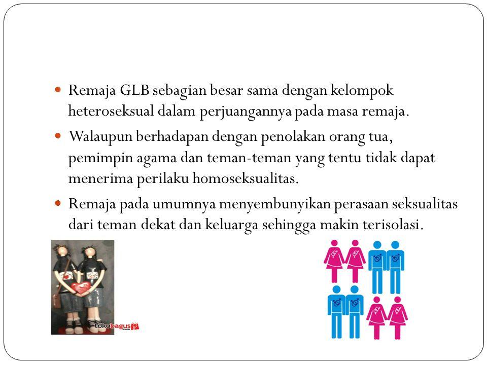 46 Remaja GLB sebagian besar sama dengan kelompok heteroseksual dalam perjuangannya pada masa remaja. Walaupun berhadapan dengan penolakan orang tua,
