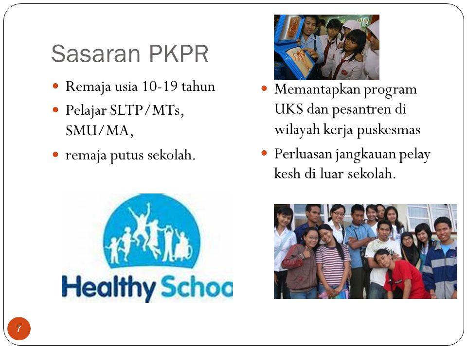 Sasaran PKPR Remaja usia 10-19 tahun Pelajar SLTP/MTs, SMU/MA, remaja putus sekolah. Memantapkan program UKS dan pesantren di wilayah kerja puskesmas