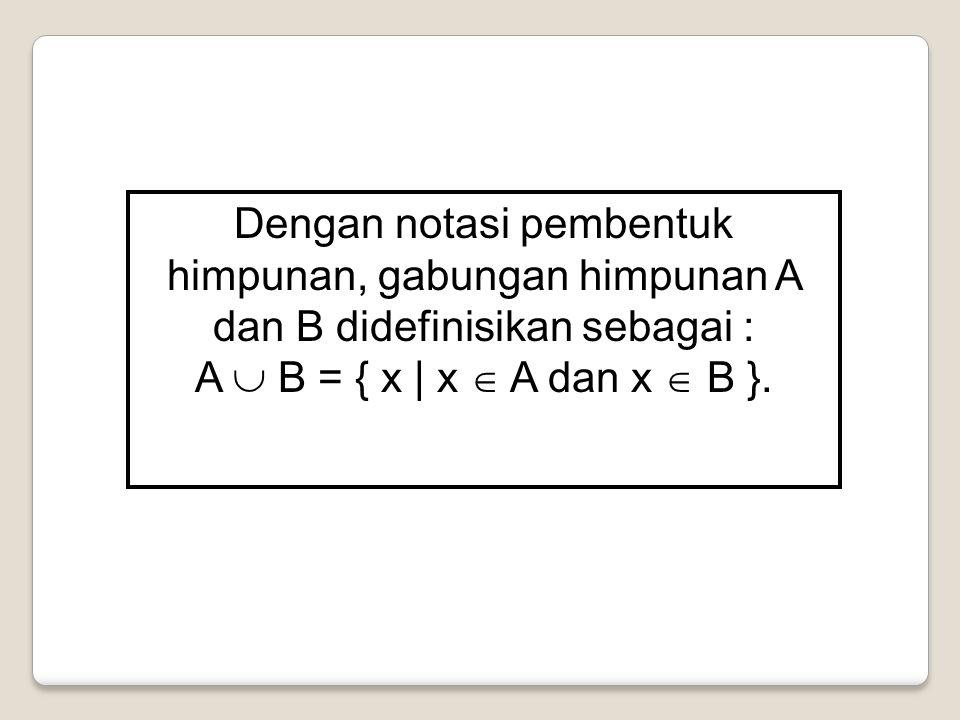 Dengan notasi pembentuk himpunan, gabungan himpunan A dan B didefinisikan sebagai : A  B = { x | x  A dan x  B }.