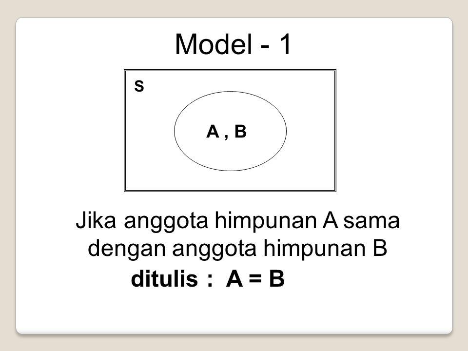 Model - 1 S A, B Jika anggota himpunan A sama dengan anggota himpunan B ditulis : A = B