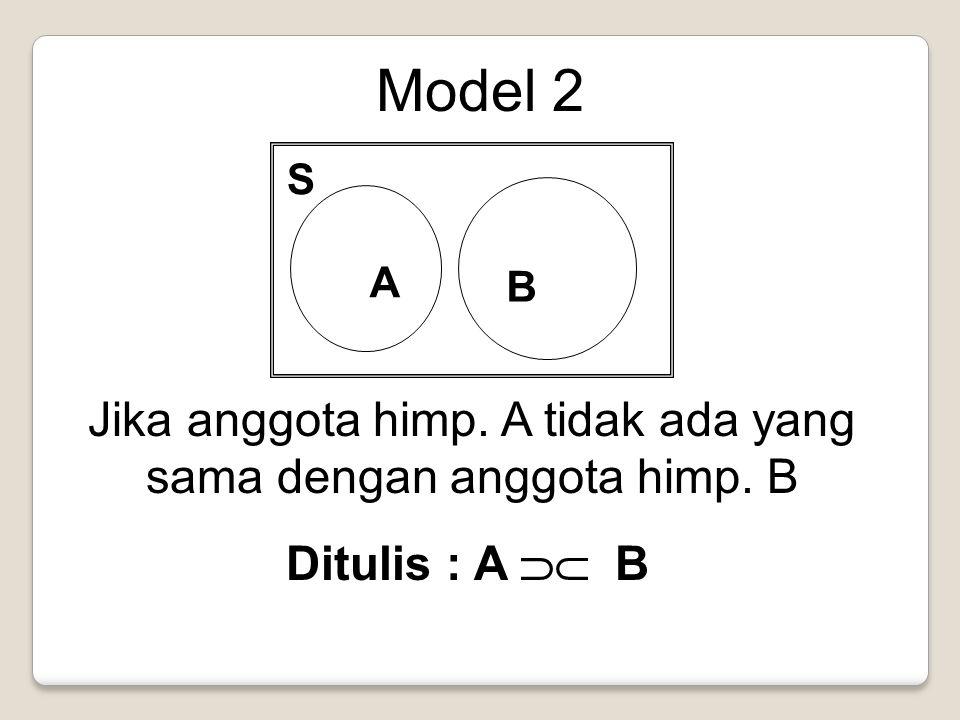 Model 2 A B S Jika anggota himp. A tidak ada yang sama dengan anggota himp. B Ditulis : A  B