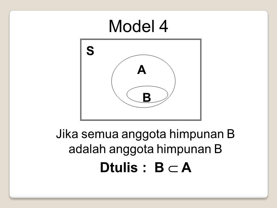 Model 4 S A B Jika semua anggota himpunan B adalah anggota himpunan B Dtulis : B  A