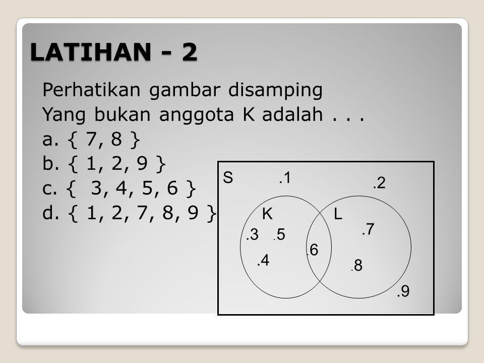 LATIHAN - 2 Perhatikan gambar disamping Yang bukan anggota K adalah... a. { 7, 8 } b. { 1, 2, 9 } c. { 3, 4, 5, 6 } d. { 1, 2, 7, 8, 9 } S KL.1.2.3.4.