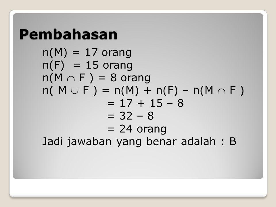 Pembahasan n(M) = 17 orang n(F) = 15 orang n(M  F ) = 8 orang n( M  F ) = n(M) + n(F) – n(M  F ) = 17 + 15 – 8 = 32 – 8 = 24 orang Jadi jawaban yan