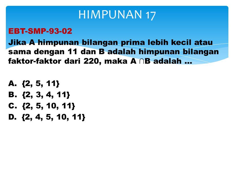 EBT-SMP-93-02 Jika A himpunan bilangan prima lebih kecil atau sama dengan 11 dan B adalah himpunan bilangan faktor-faktor dari 220, maka A ∩B adalah …