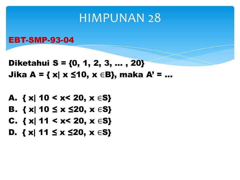 EBT-SMP-93-04 Diketahui S = {0, 1, 2, 3, …, 20} Jika A = { x| x ≤10, x ∈ B}, maka A' = … A. { x| 10 < x< 20, x ∈ S} B. { x| 10 ≤ x ≤20, x ∈ S} C. { x|