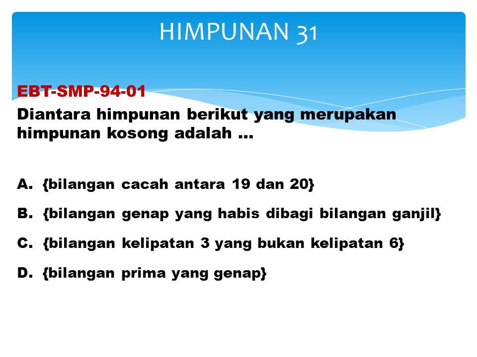 EBT-SMP-94-01 Diantara himpunan berikut yang merupakan himpunan kosong adalah … A. {bilangan cacah antara 19 dan 20} B. {bilangan genap yang habis dib