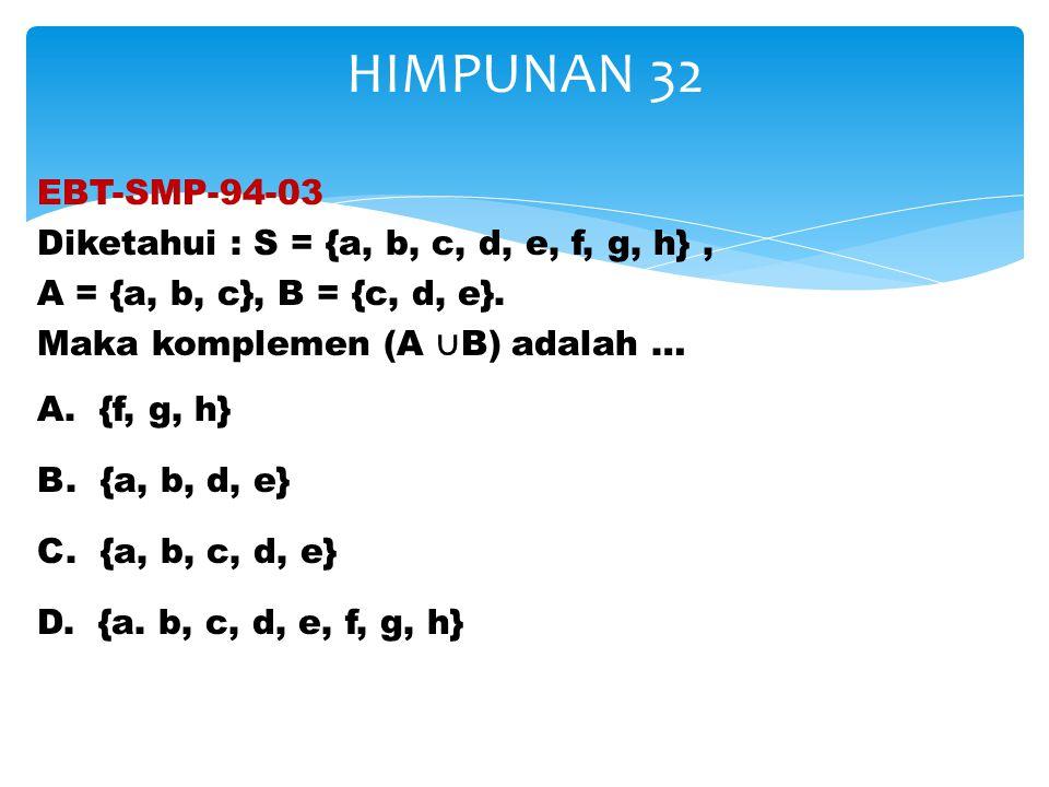 EBT-SMP-94-03 Diketahui : S = {a, b, c, d, e, f, g, h}, A = {a, b, c}, B = {c, d, e}. Maka komplemen (A ∪ B) adalah … A. {f, g, h} B. {a, b, d, e} C.
