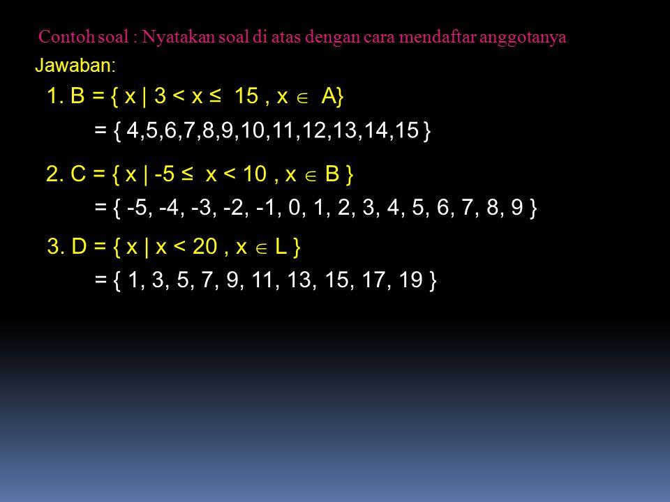 Contoh: Diketahui: S = { 0,1,2,3,4,5,6,7,8,9,10,11,12,13,14 } A = { 1,2,3,4,5,6 }B = { 2,4,6,8,10 }C = { 3,6,9,12 } Gambarlah diagram Venn untuk menyatakan himpunan di atas Jawab: 6 3 2 4 1 5 810 9 12 A B C S 7 11 13 14 6 adalah anggota yg dimiliki oleh himpunan A,B,C 3 dan 6 adalah anggota yg dimiliki oleh himpunan A dan C 2,4, 6 adalah anggota yg dimiliki oleh himpunan A dan B 0