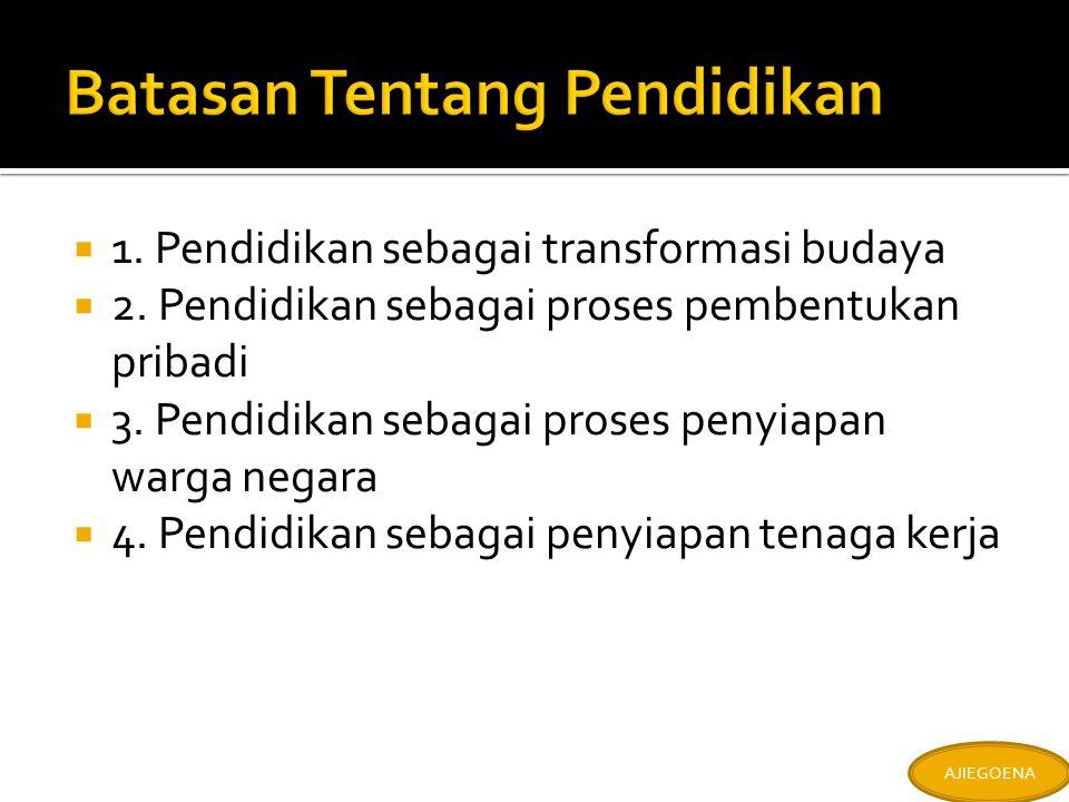  1. Pendidikan sebagai transformasi budaya  2.