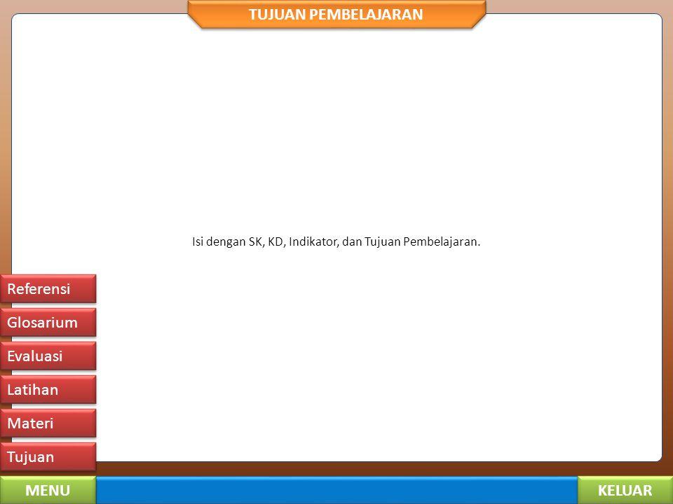 KELUAR MENU Tujuan Materi Latihan Evaluasi Glosarium Referensi MATERI PEMBELAJARAN Hal 1