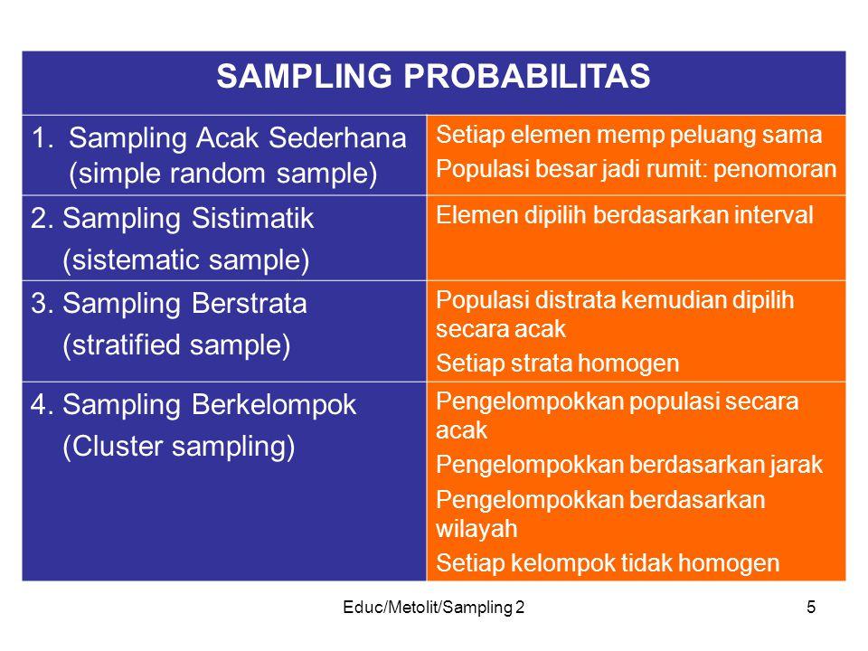Educ/Metolit/Sampling 25 SAMPLING PROBABILITAS 1.Sampling Acak Sederhana (simple random sample) Setiap elemen memp peluang sama Populasi besar jadi ru