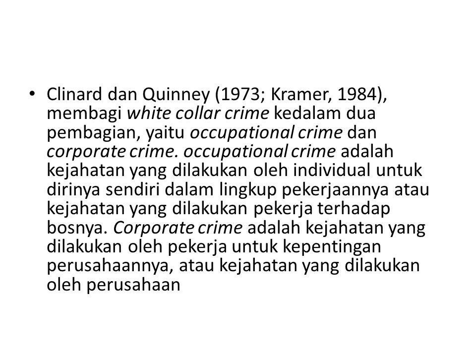 Clinard dan Quinney (1973; Kramer, 1984), membagi white collar crime kedalam dua pembagian, yaitu occupational crime dan corporate crime.