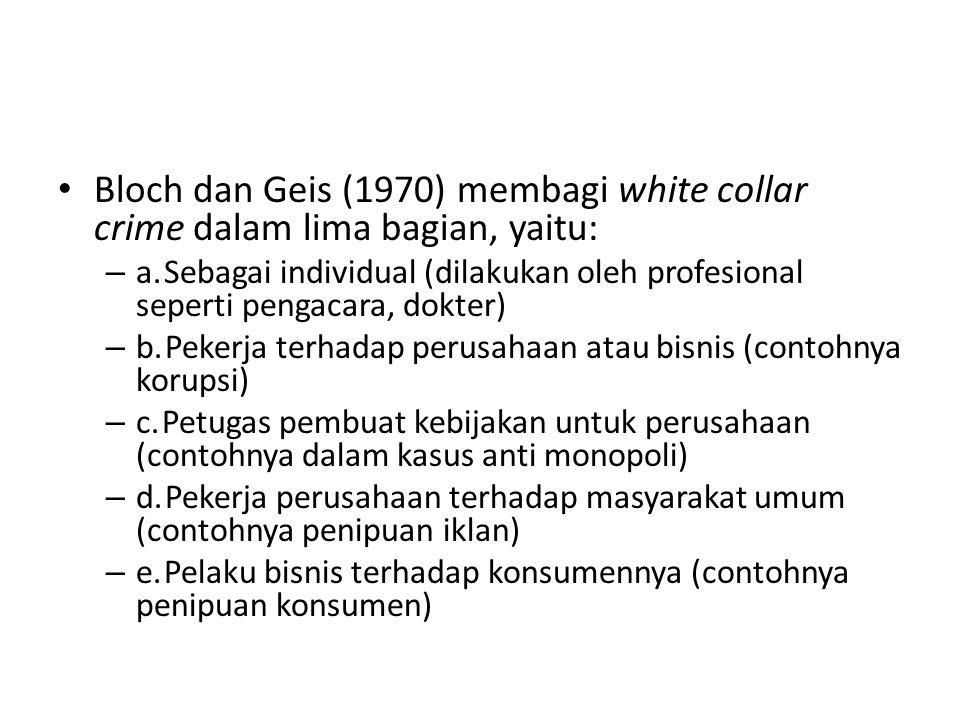 Edelhertz (1970), membuat pembagian white collar crime dalam empat bagian, yaitu: – 1.