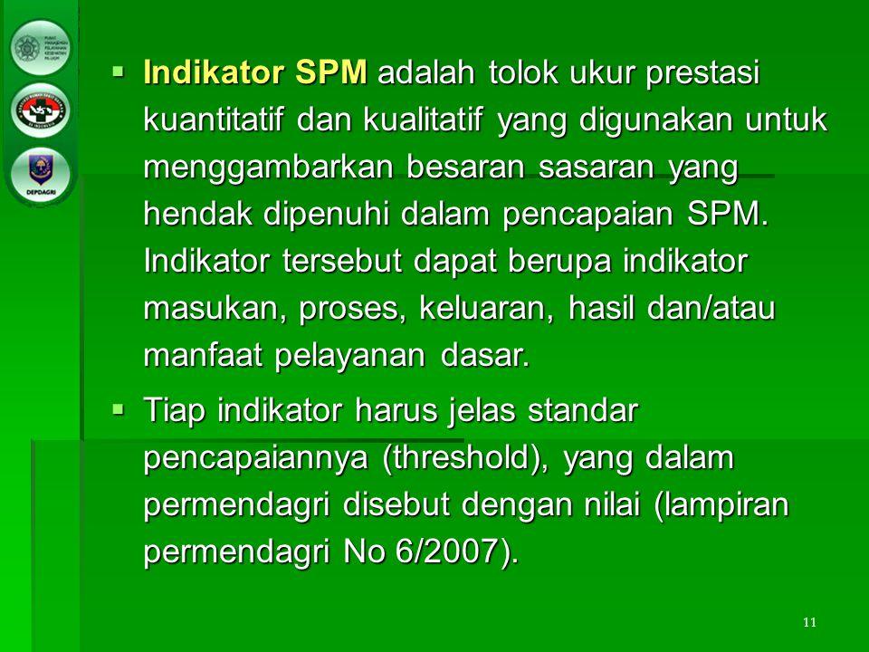 11  Indikator SPM adalah tolok ukur prestasi kuantitatif dan kualitatif yang digunakan untuk menggambarkan besaran sasaran yang hendak dipenuhi dalam