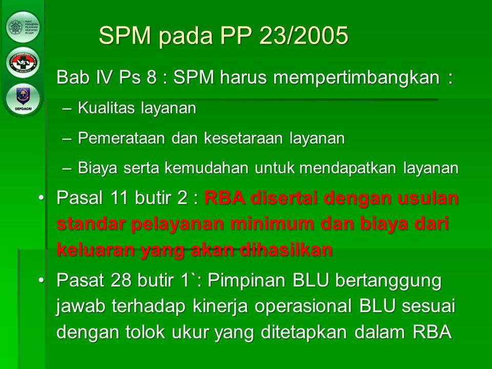 SPM pada PP 23/2005 Bab IV Ps 8 : SPM harus mempertimbangkan :Bab IV Ps 8 : SPM harus mempertimbangkan : –Kualitas layanan –Pemerataan dan kesetaraan