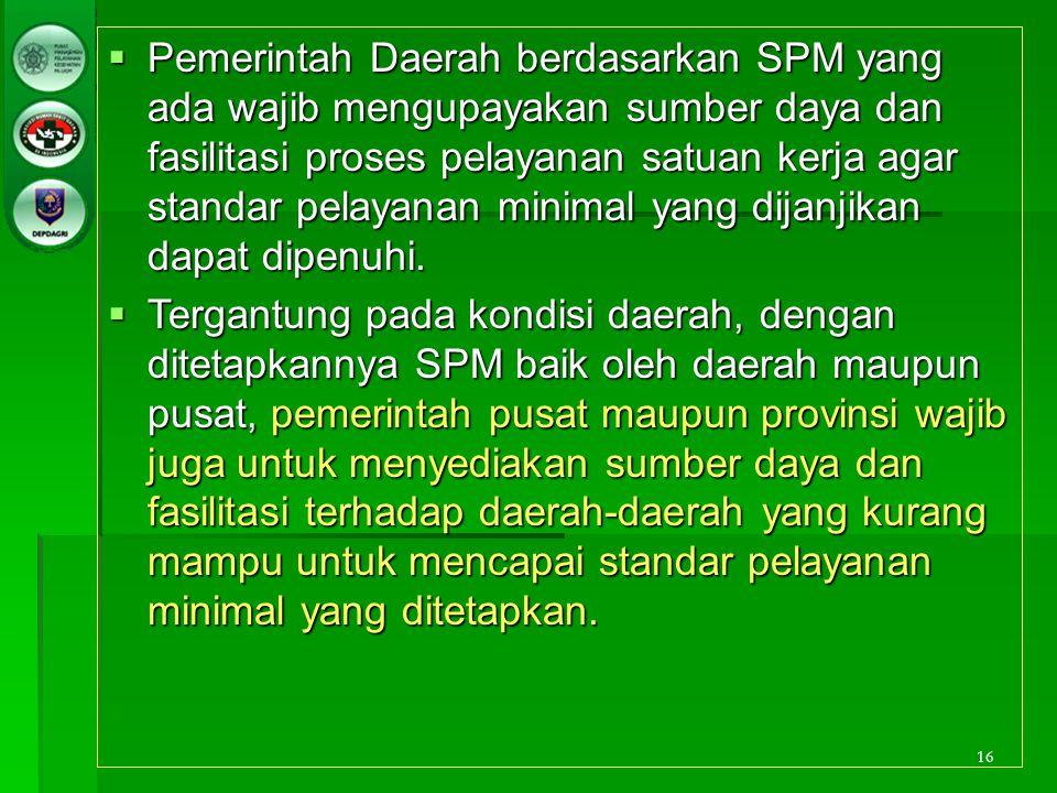 16  Pemerintah Daerah berdasarkan SPM yang ada wajib mengupayakan sumber daya dan fasilitasi proses pelayanan satuan kerja agar standar pelayanan min