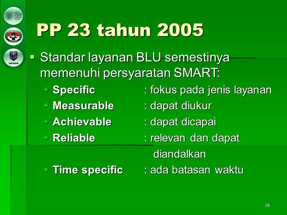 26 PP 23 tahun 2005  Standar layanan BLU semestinya memenuhi persyaratan SMART:  Specific: fokus pada jenis layanan  Measurable: dapat diukur  Ach