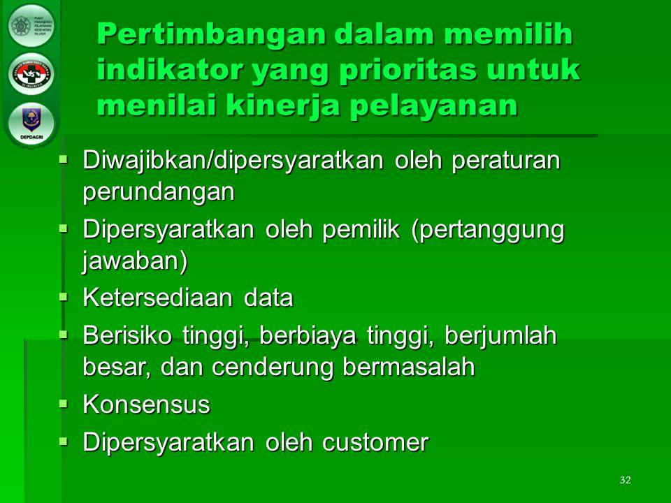 32 Pertimbangan dalam memilih indikator yang prioritas untuk menilai kinerja pelayanan  Diwajibkan/dipersyaratkan oleh peraturan perundangan  Dipers