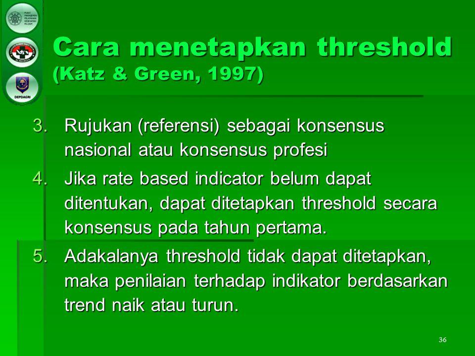 36 Cara menetapkan threshold (Katz & Green, 1997) 3.Rujukan (referensi) sebagai konsensus nasional atau konsensus profesi 4.Jika rate based indicator