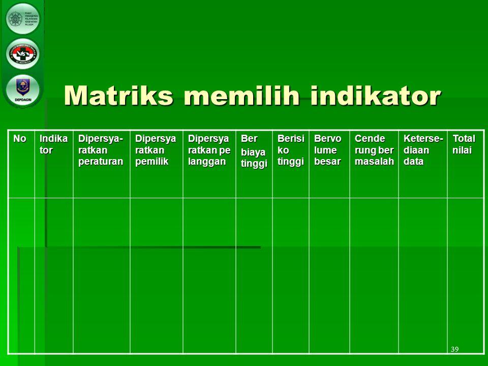 39 Matriks memilih indikator No Indika tor Dipersya- ratkan peraturan Dipersya ratkan pemilik Dipersya ratkan pe langgan Ber biaya tinggi Berisi ko ti