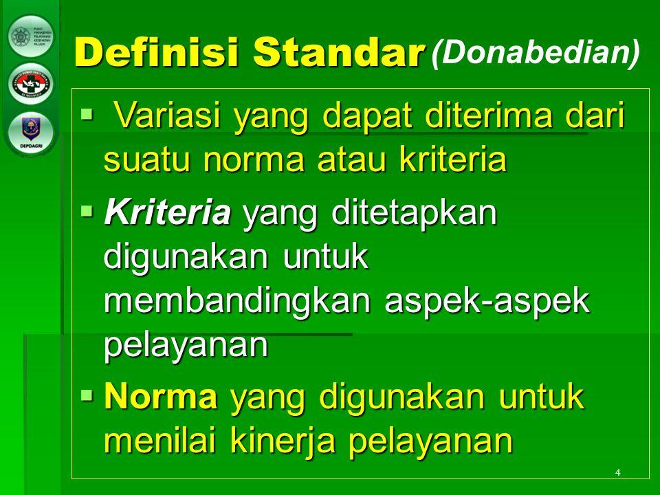 4 Definisi Standar  Variasi yang dapat diterima dari suatu norma atau kriteria  Kriteria yang ditetapkan digunakan untuk membandingkan aspek-aspek p