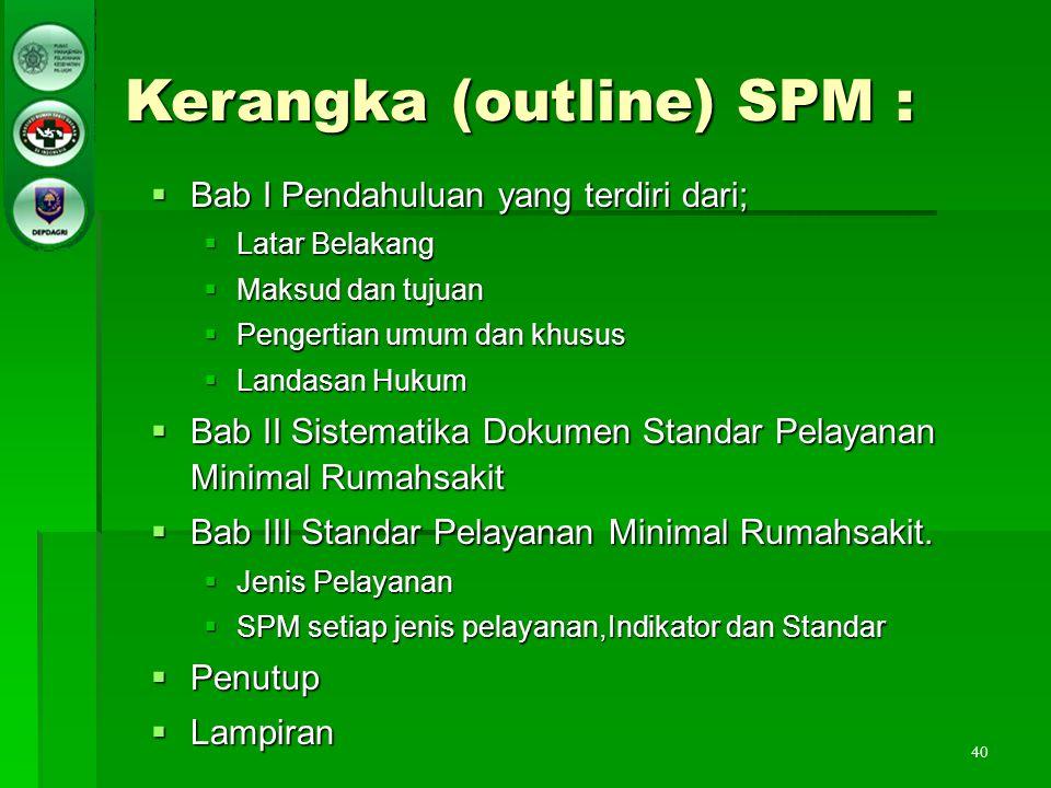 40 Kerangka (outline) SPM :  Bab I Pendahuluan yang terdiri dari;  Latar Belakang  Maksud dan tujuan  Pengertian umum dan khusus  Landasan Hukum