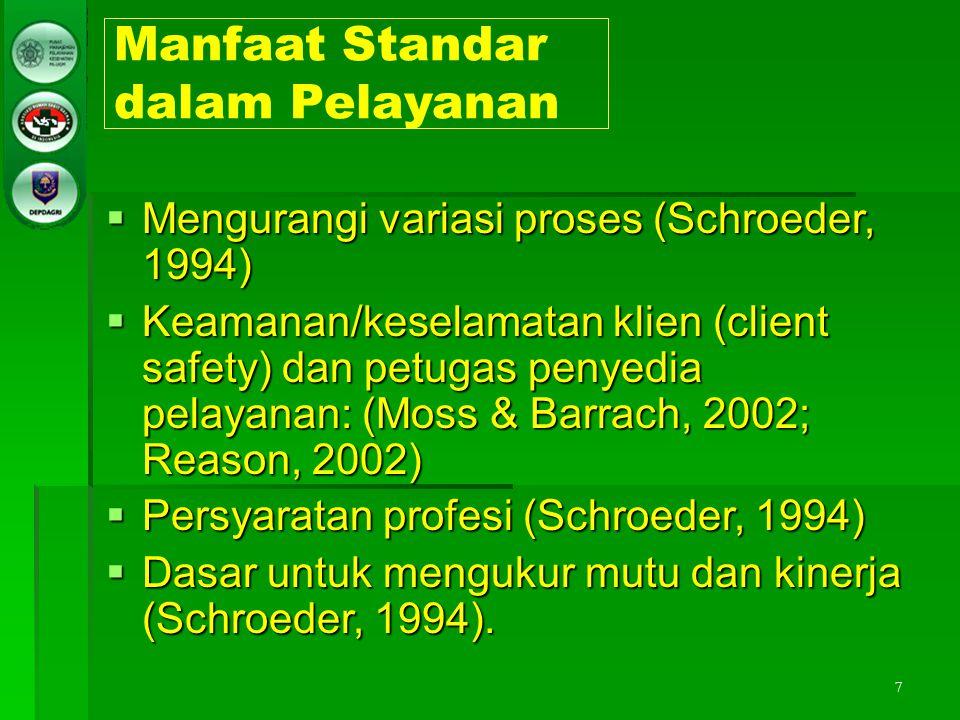 7 Manfaat Standar dalam Pelayanan  Mengurangi variasi proses (Schroeder, 1994)  Keamanan/keselamatan klien (client safety) dan petugas penyedia pela