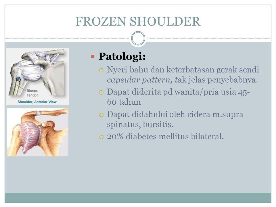 FROZEN SHOULDER Patologi:  Nyeri bahu dan keterbatasan gerak sendi capsular pattern, tak jelas penyebabnya.  Dapat diderita pd wanita/pria usia 45-