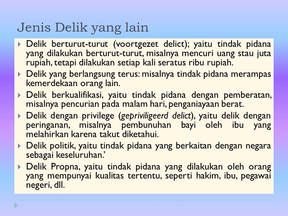 Jenis Delik yang lain  Delik berturut-turut (voortgezet delict); yaitu tindak pidana yang dilakukan berturut-turut, misalnya mencuri uang stau juta r