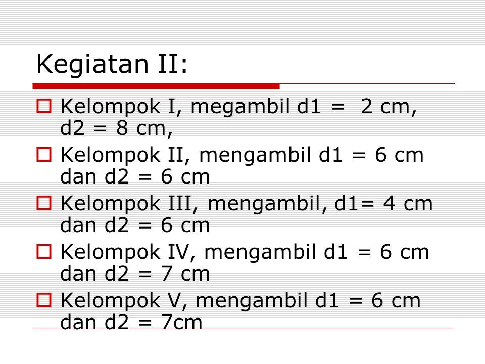 Kegiatan II:  Kelompok I, megambil d1 = 2 cm, d2 = 8 cm,  Kelompok II, mengambil d1 = 6 cm dan d2 = 6 cm  Kelompok III, mengambil, d1= 4 cm dan d2 = 6 cm  Kelompok IV, mengambil d1 = 6 cm dan d2 = 7 cm  Kelompok V, mengambil d1 = 6 cm dan d2 = 7cm