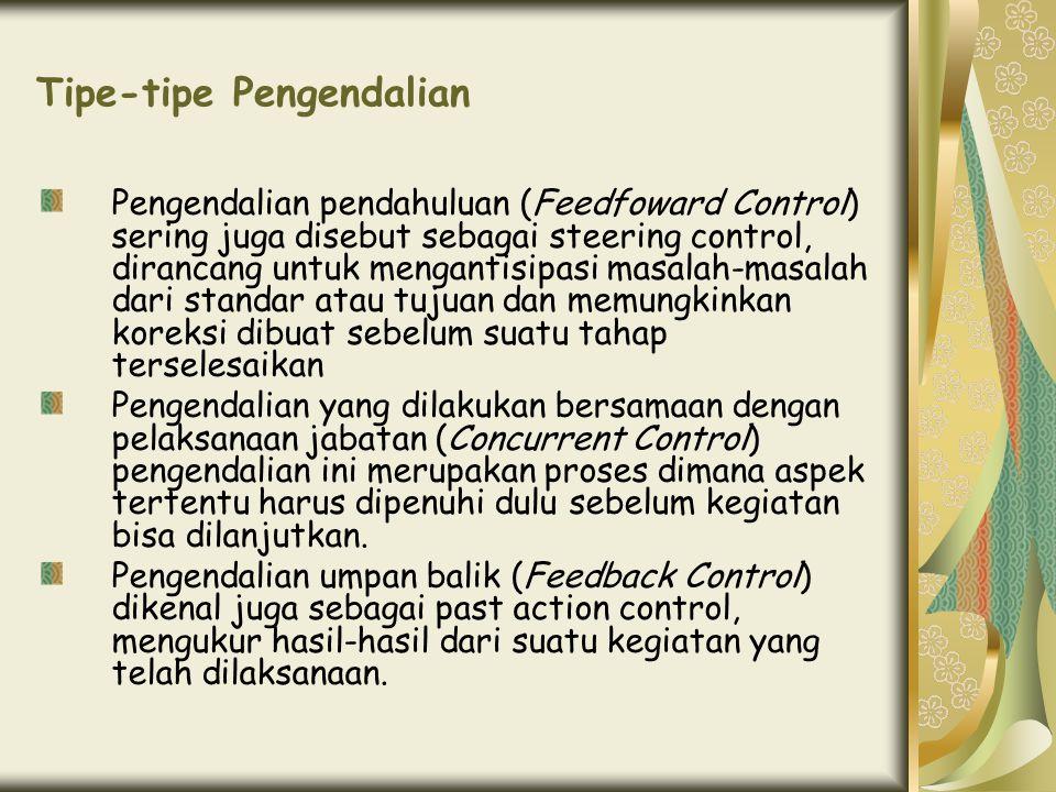 Tipe-tipe Pengendalian Pengendalian pendahuluan (Feedfoward Control) sering juga disebut sebagai steering control, dirancang untuk mengantisipasi masa