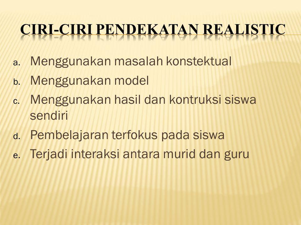 a. Menggunakan masalah konstektual b. Menggunakan model c.