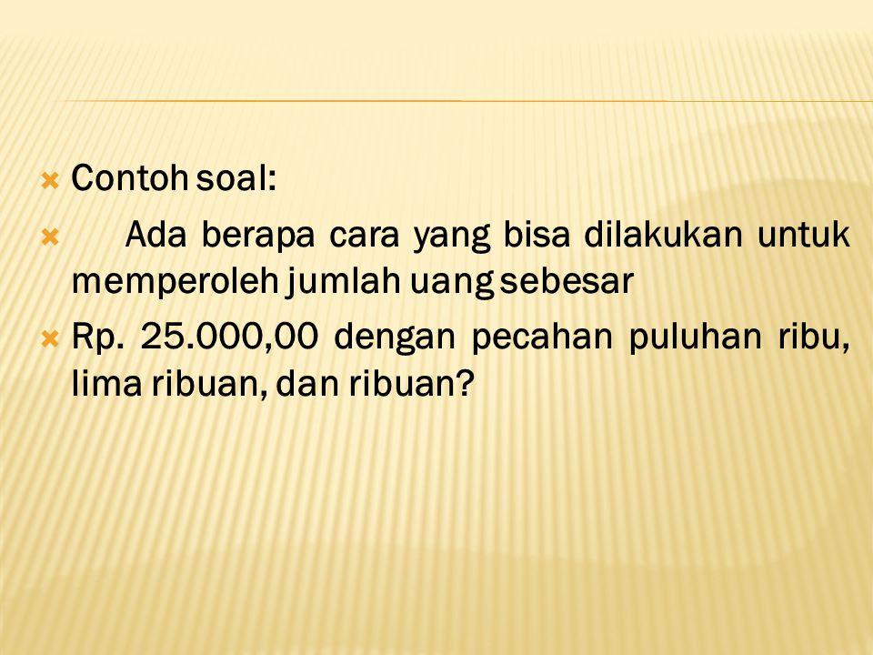  Contoh soal:  Ada berapa cara yang bisa dilakukan untuk memperoleh jumlah uang sebesar  Rp.