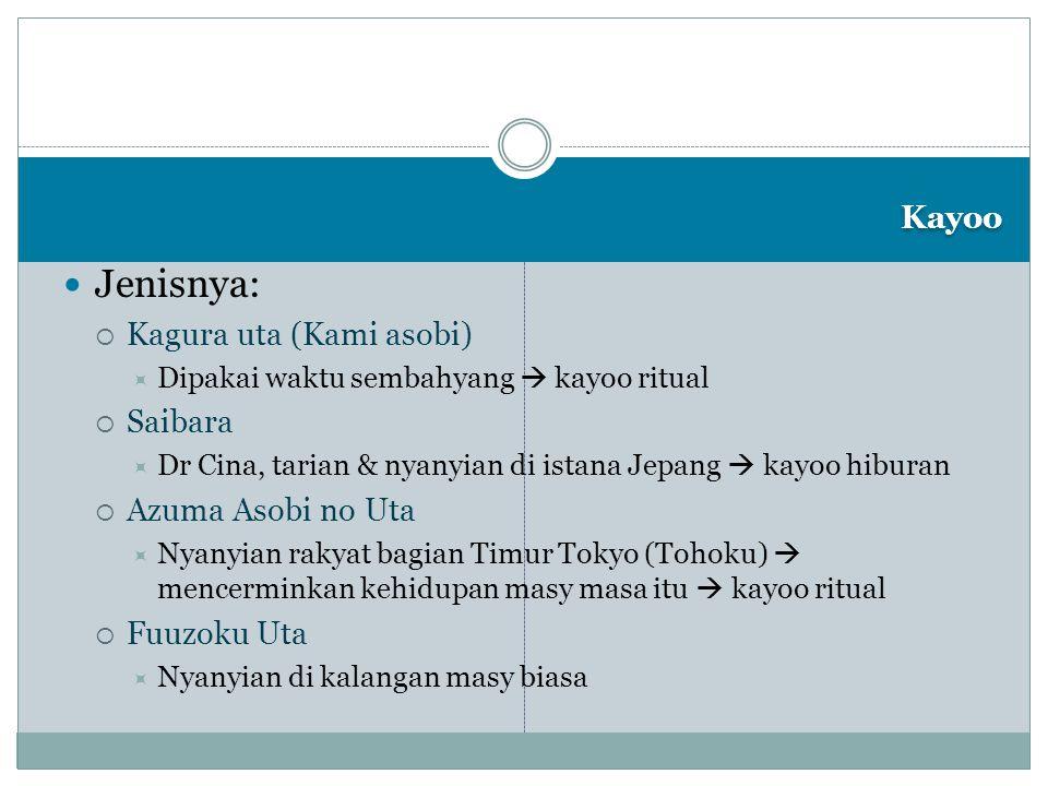 Kayoo Jenisnya:  Kagura uta (Kami asobi)  Dipakai waktu sembahyang  kayoo ritual  Saibara  Dr Cina, tarian & nyanyian di istana Jepang  kayoo hi