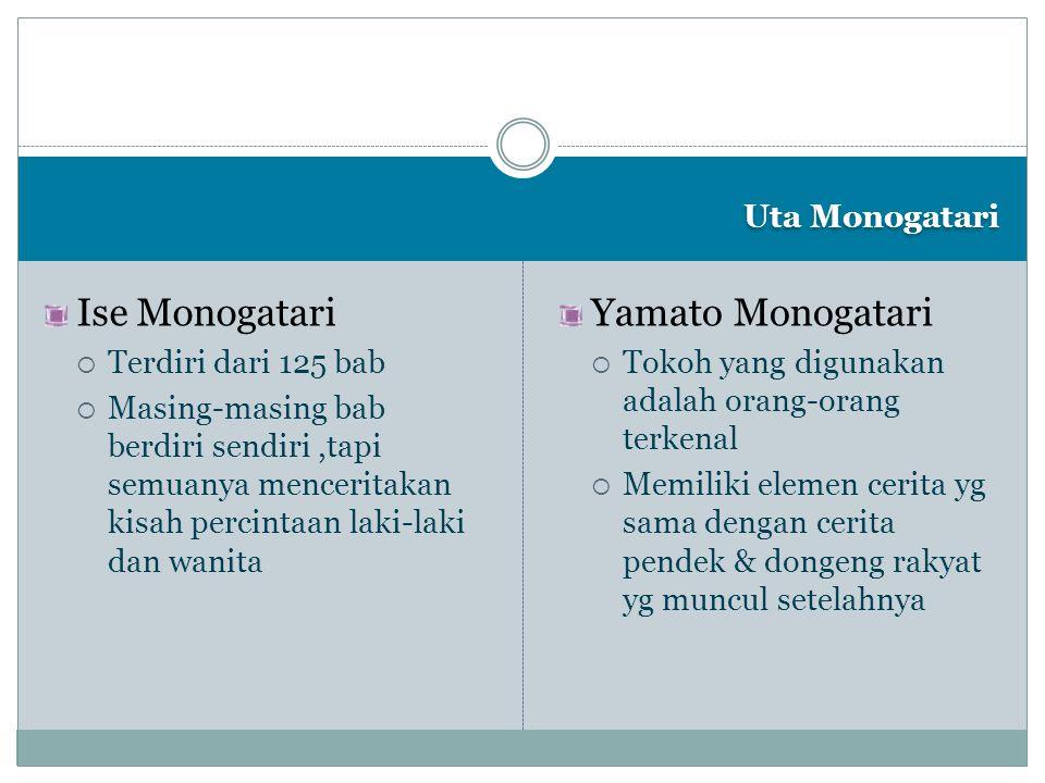 Uta Monogatari Ise Monogatari  Terdiri dari 125 bab  Masing-masing bab berdiri sendiri,tapi semuanya menceritakan kisah percintaan laki-laki dan wan
