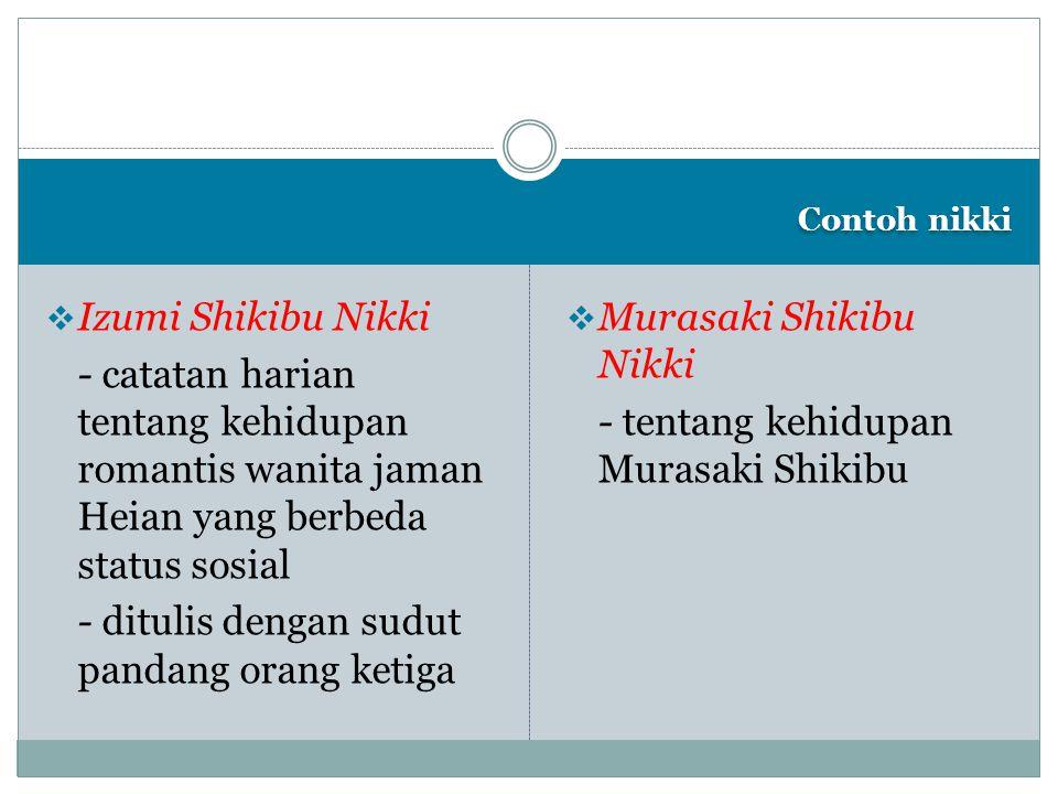 Contoh nikki  Izumi Shikibu Nikki - catatan harian tentang kehidupan romantis wanita jaman Heian yang berbeda status sosial - ditulis dengan sudut pa