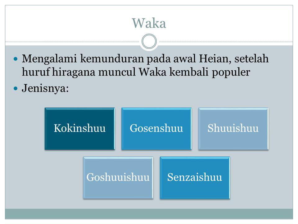 Waka Mengalami kemunduran pada awal Heian, setelah huruf hiragana muncul Waka kembali populer Jenisnya: KokinshuuGosenshuuShuuishuu Goshuuishu u Senza
