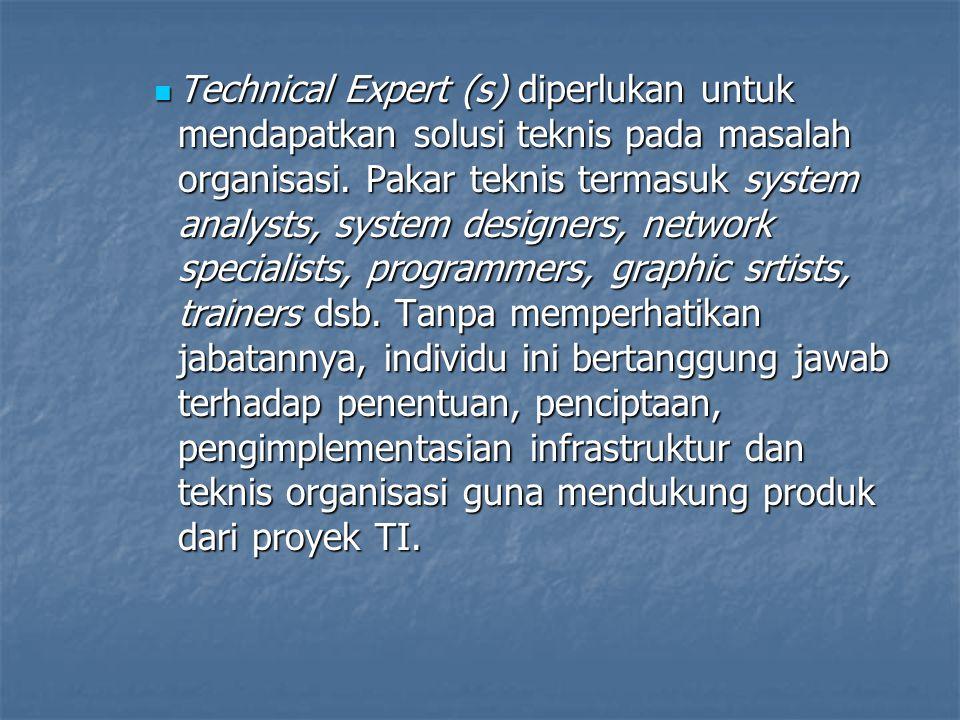 Technical Expert (s) diperlukan untuk mendapatkan solusi teknis pada masalah organisasi. Pakar teknis termasuk system analysts, system designers, netw