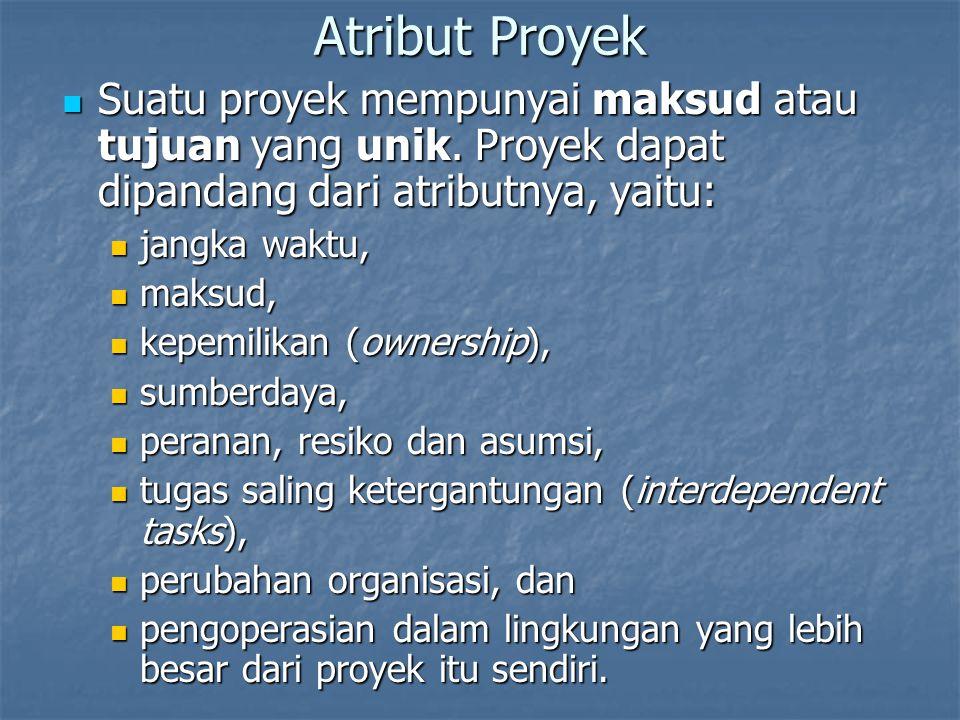Atribut Proyek Suatu proyek mempunyai maksud atau tujuan yang unik. Proyek dapat dipandang dari atributnya, yaitu: Suatu proyek mempunyai maksud atau