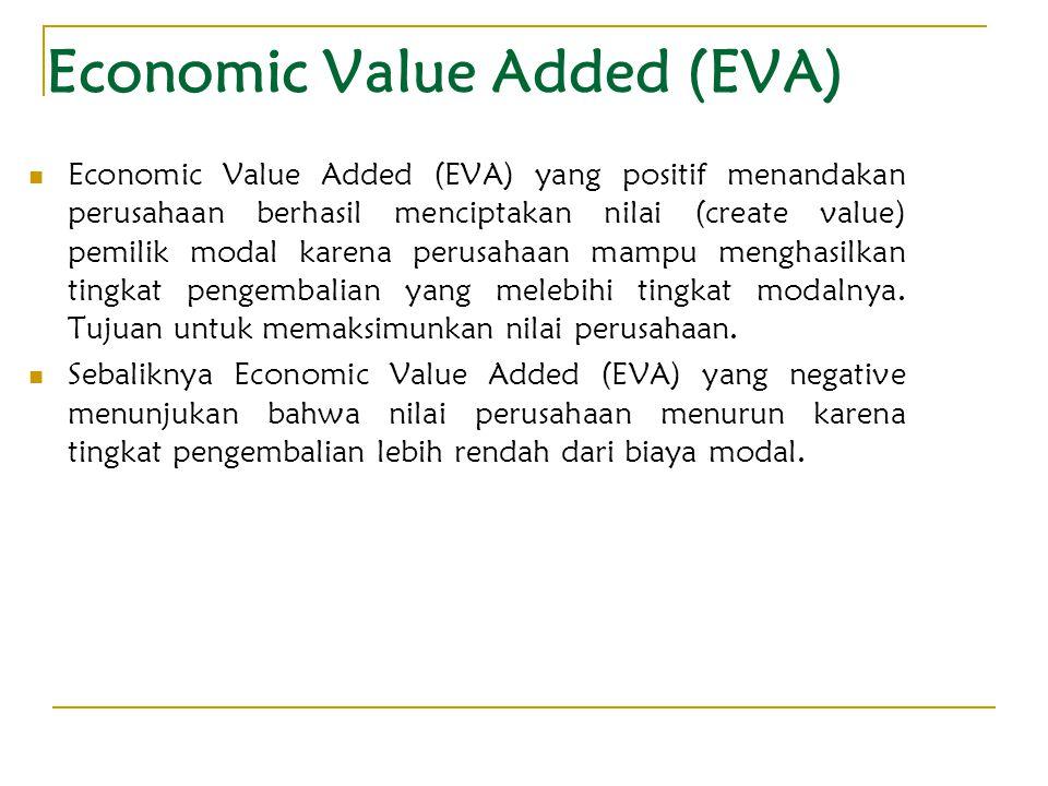 Economic Value Added (EVA) Economic Value Added (EVA) yang positif menandakan perusahaan berhasil menciptakan nilai (create value) pemilik modal karen
