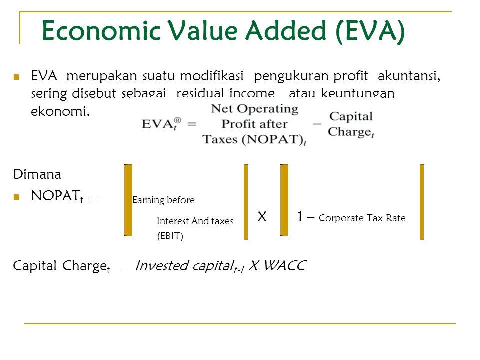 Economic Value Added (EVA) EVA merupakan suatu modifikasi pengukuran profit akuntansi, sering disebut sebagai residual income atau keuntungan ekonomi.