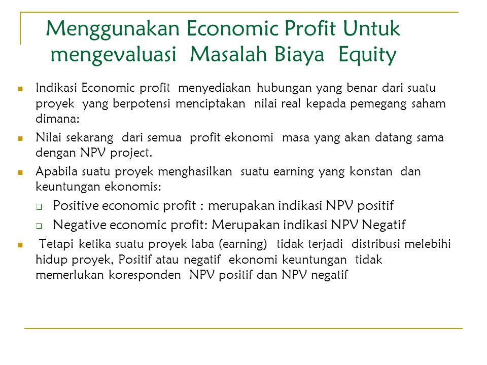 Menggunakan Economic Profit Untuk mengevaluasi Masalah Biaya Equity Indikasi Economic profit menyediakan hubungan yang benar dari suatu proyek yang be