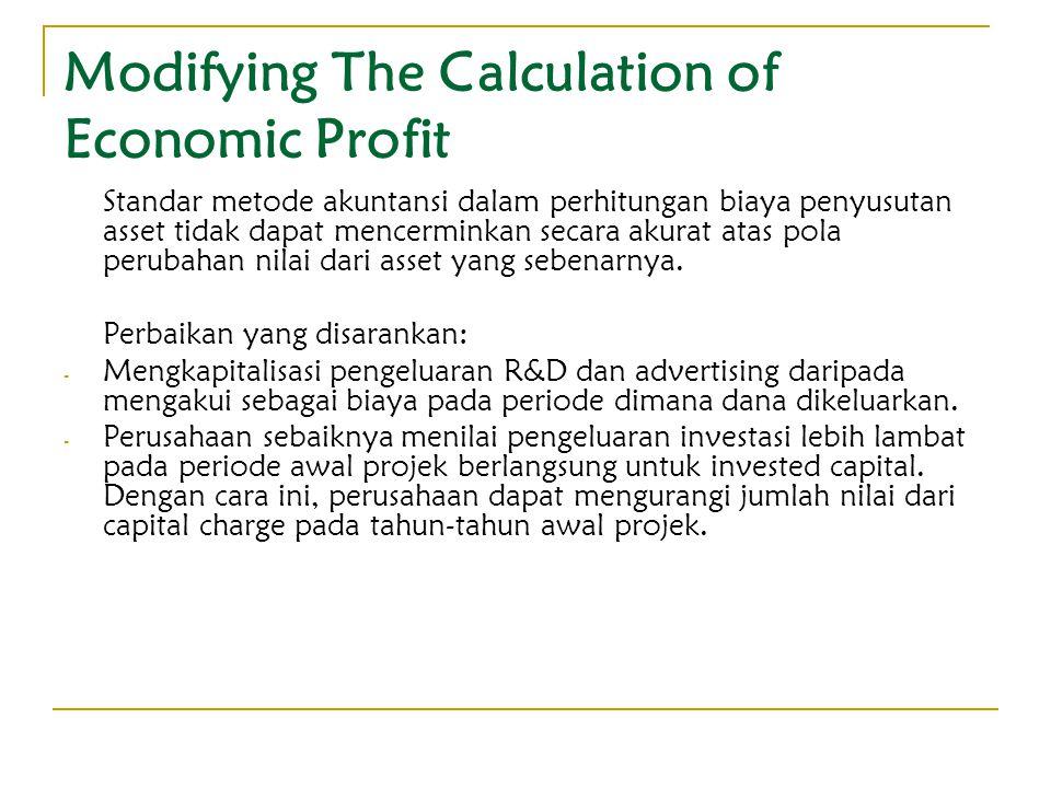 Modifying The Calculation of Economic Profit Standar metode akuntansi dalam perhitungan biaya penyusutan asset tidak dapat mencerminkan secara akurat