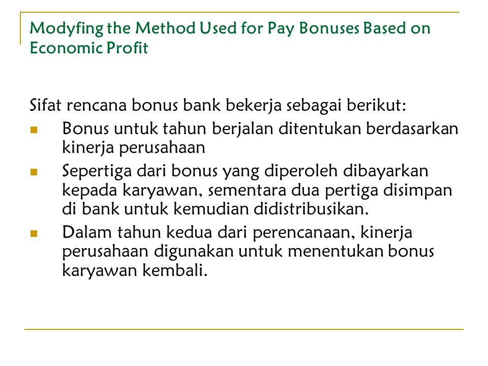 Modyfing the Method Used for Pay Bonuses Based on Economic Profit Sifat rencana bonus bank bekerja sebagai berikut: Bonus untuk tahun berjalan ditentu