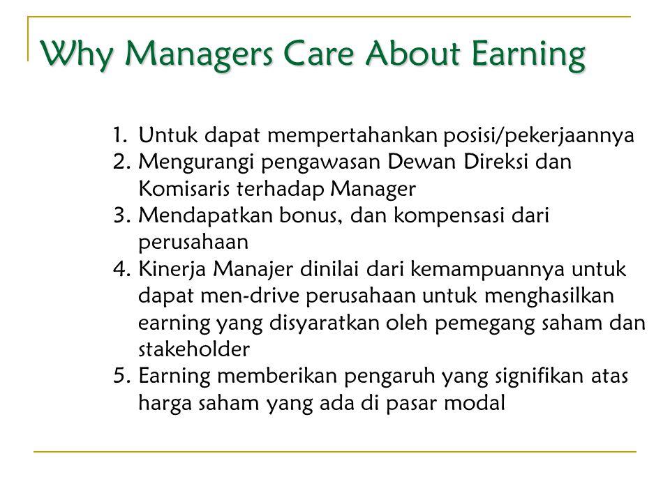 Why Managers Care About Earning 1.Untuk dapat mempertahankan posisi/pekerjaannya 2.Mengurangi pengawasan Dewan Direksi dan Komisaris terhadap Manager